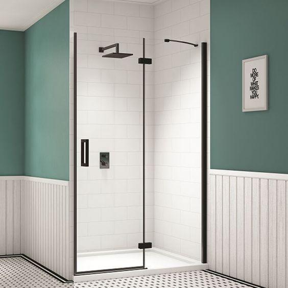 Merlyn Black Inline Recess Hinged Shower Door 1000mm Wide 8mm Glass Shower Doors Black Shower Doors Easy Bathroom Decorating