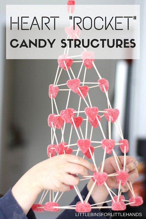 An easy Valentine Day engineering project for primary kids- create heart rocket candy structures!