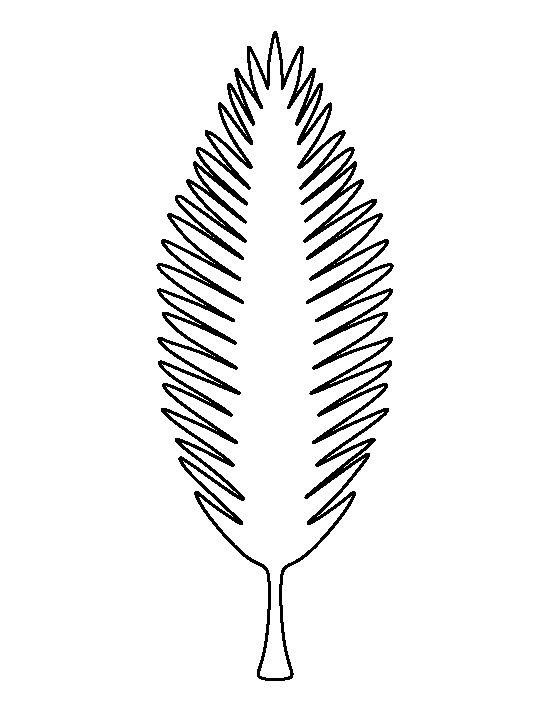 Coconut tree leaf pattern Use the printable outline for crafts - leaf template for writing