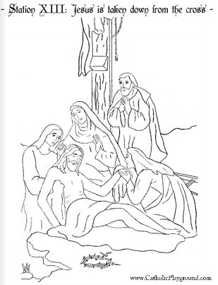 Kruisweg Kleurplaat Coloring Page For The Thirteenth Station Of The Cross