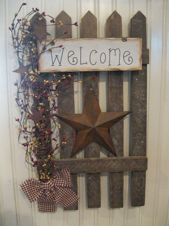 Primitive crafts wall decor and front yards on pinterest for Country craft house