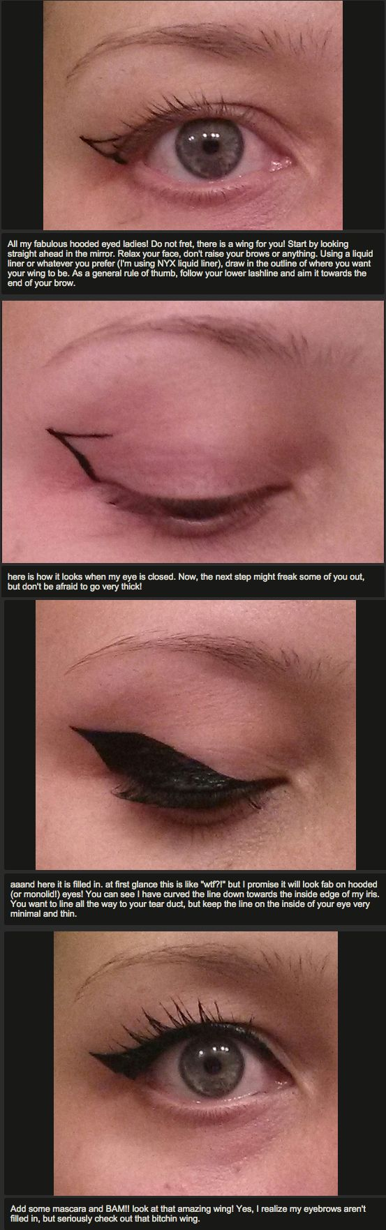 All my hooded eye beauties, here is a quick pictorial for getting that prefect wing.