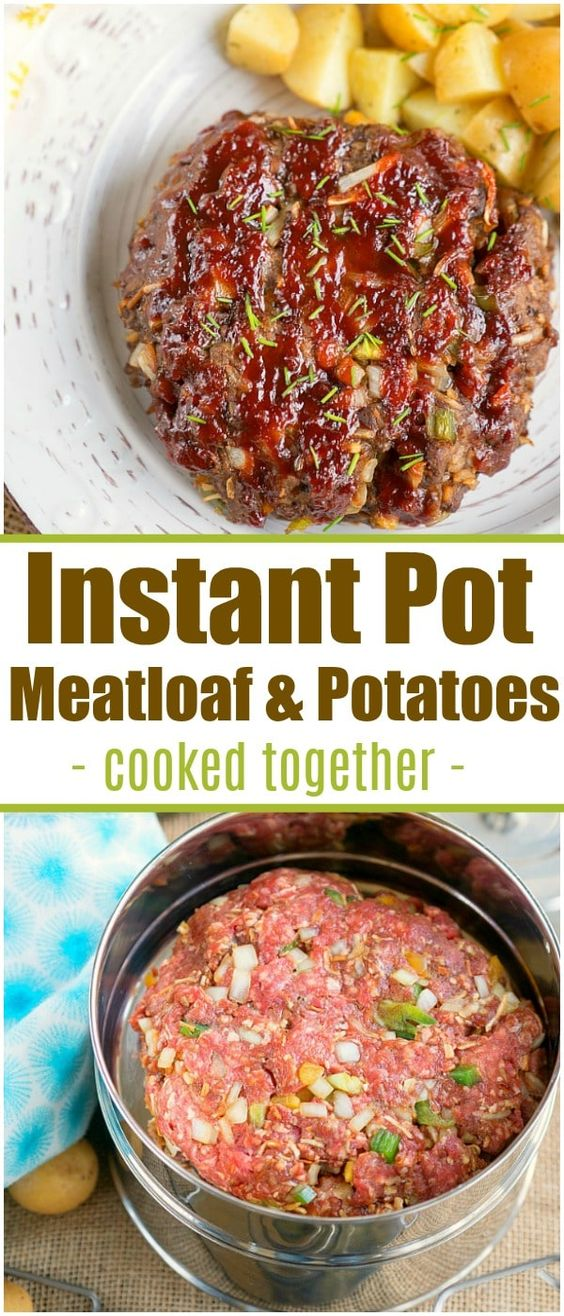 This pressure cooker meatloaf and potatoes recipe shows you how to cook 2 different dishes in your Instant Pot at the same time! Dinner's never been easier. #instantpotrecipes #instantpot #meatloaf #potatoes #stackablepans #pressurecooker #meatloafandpotatoes via @pinterest.com/thetypicalmom
