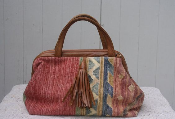 Vintage Pastel Kilim Leather Hinge Handbag Purse
