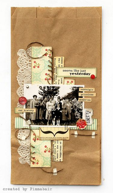 6x12 page ideas Paper bag collage by Finnabair