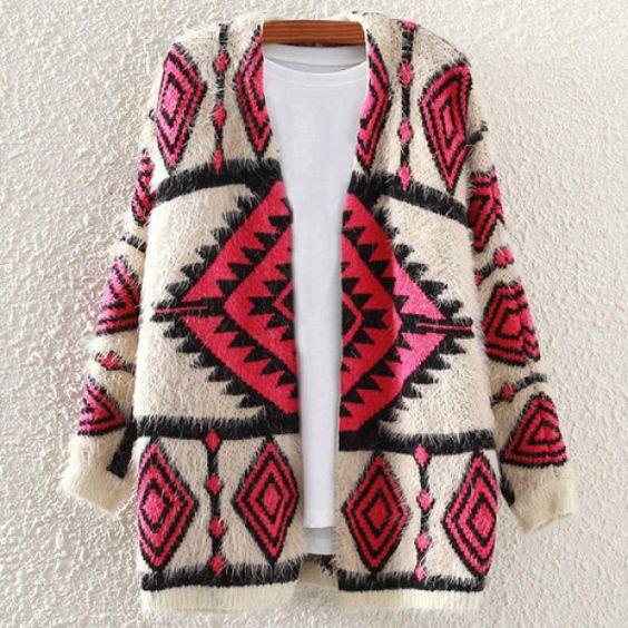 Stylish Geometric Pattern Long Sleeve Cardigan For Women