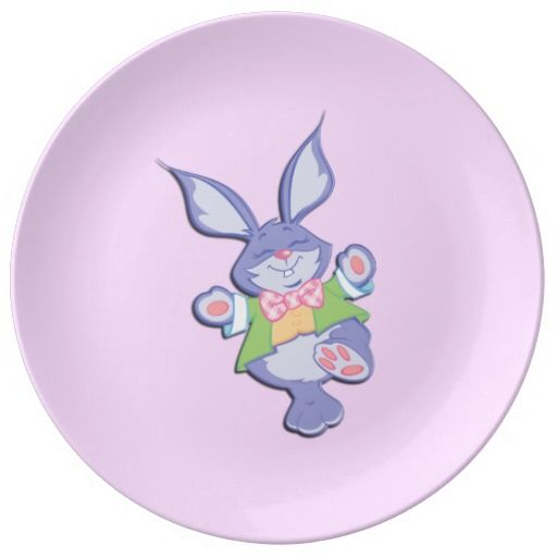 Dancing Purple Easter Bunny Porcelain Plate