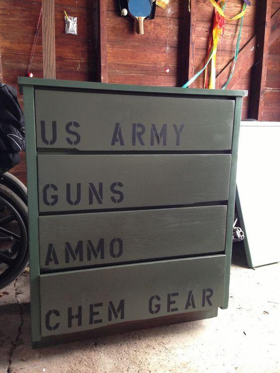 army themed bedrooms for boys | My son's dresser for his Army camo theme room!