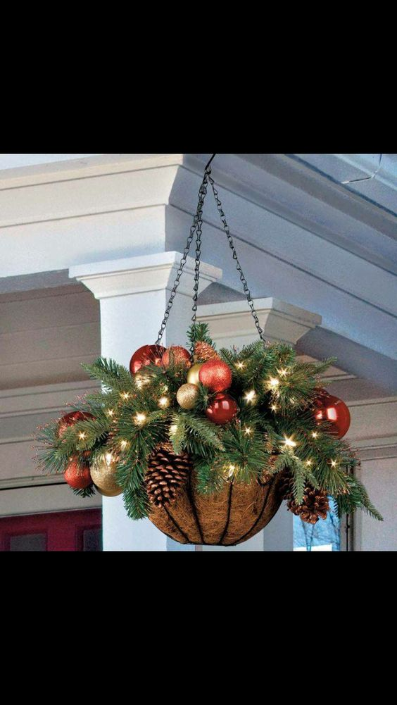 Christmas greenery hanging basket