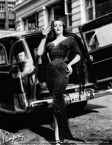 Vampira and a hearse.: