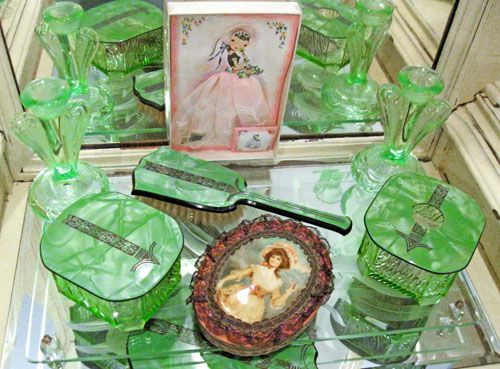 Antique vanity items in jadite green