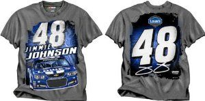 Jimmie Johnson CFS NASCAR Spring 2013 Lowes Silver Streak Tee by RacingGifts. $28.50. This Nascar licensed racing shirt by Motorsports Authentics is made of a cotton/synth. blend for comfort and durability, wash after wash. Reinforced stitching on the sleeves and collar, this shirt features outstanding driver racing graphics