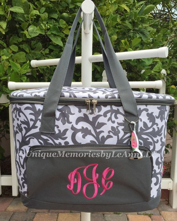 Damask insulated Cooler Bag  FREE Monogram by UniqueMemoriesLeAnn