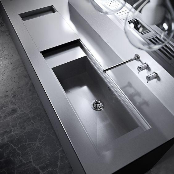 Canale attrezzato per piano lavoro cucina, Canal equipado cocina - kuchen utensilien artematica inox valcucine