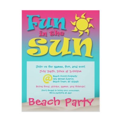 Fun in the Sun - Beach Party Flyers by starzraven. Bright and cheerful!