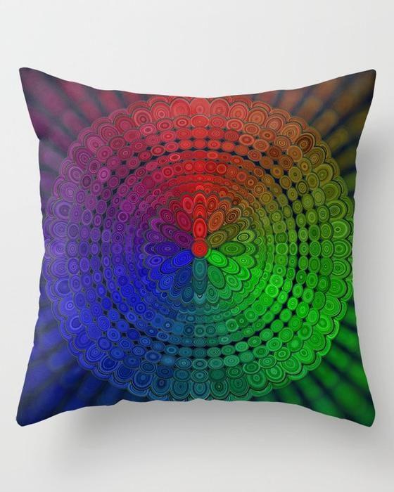 RGB Mandala Throw Pillow #RGB #mandala