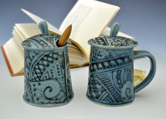Creativewithclay by Charan Sachar lidded teacup and sugar bowl