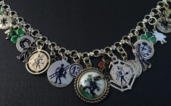 Vintage Charm Bracelet Collection - Lucky Chimney Sweep Silver & Enamel Charm Bracelet