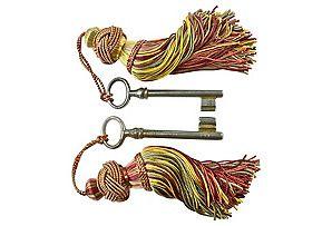 19th-C. European Keys w/ Tassels, Pair