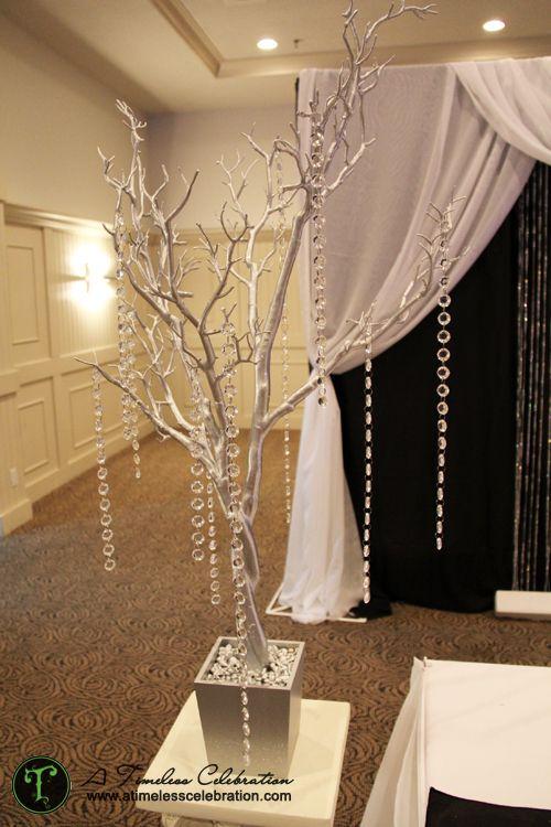 Silver Tree With Hanging Acrylic Crystals Wedding Reception Centerpiece