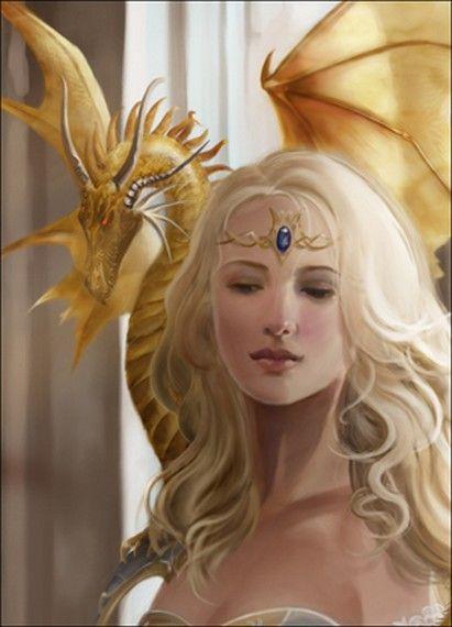 Princesse dragonnière et son dragon doré