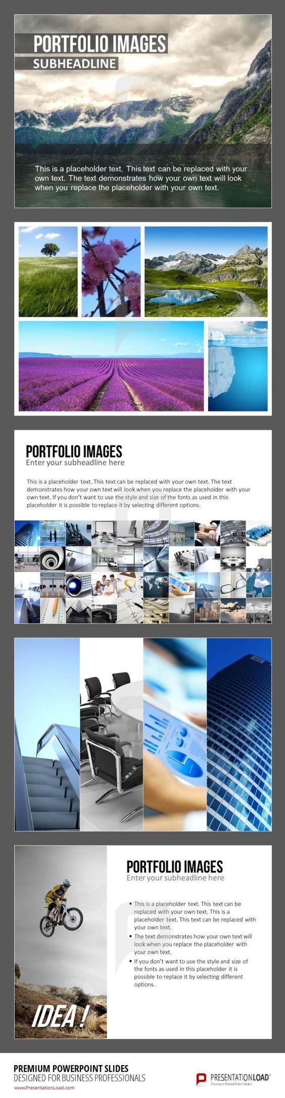 """Schluss mit endlosen Formatierungen und Anpassungen - unser neues Vorlagenset """"Image Portfolio Layout"""" bietet Ihnen die Möglichkeit, Bilddateien schnell, einfach und ansprechend mit Hilfe von verschiedenen Raster in PowerPoint darzustellen."""