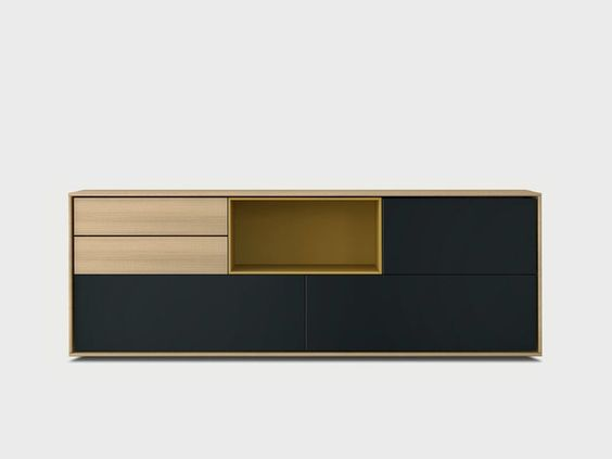 Lacquered solid wood sideboard AURA S4-3 by TREKU design Angel Martí, Enrique Delamo