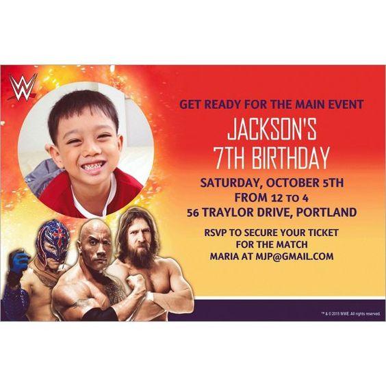 Custom WWE Photo Invitations