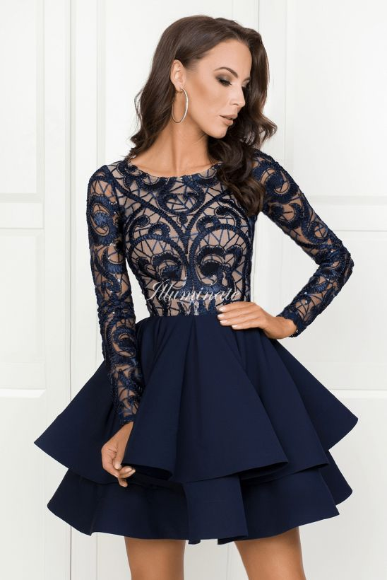 Gia Granatowa Sukienka Na Wesele Modest Homecoming Dresses Long Sleeve Prom Dress Short Prom Dresses Long With Sleeves