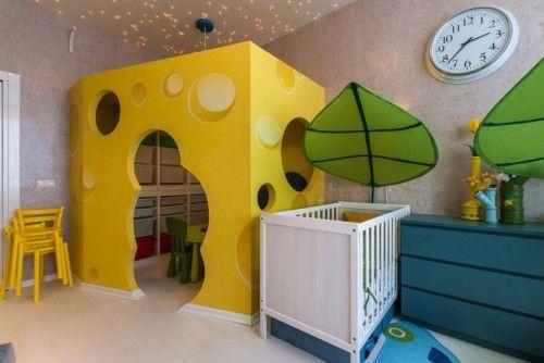 Amazing Nursery Room Design Idea with Fantastic Yellow Cheese Playhouse