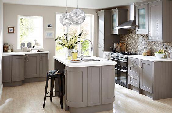 Cooke & Lewis Carisbrooke Taupe | DIY at B&Q £2132, Galley kitchen, 8 units  £2776, L-shape kitchen, 11 units  £3623, U-shape kitchen, 16 units