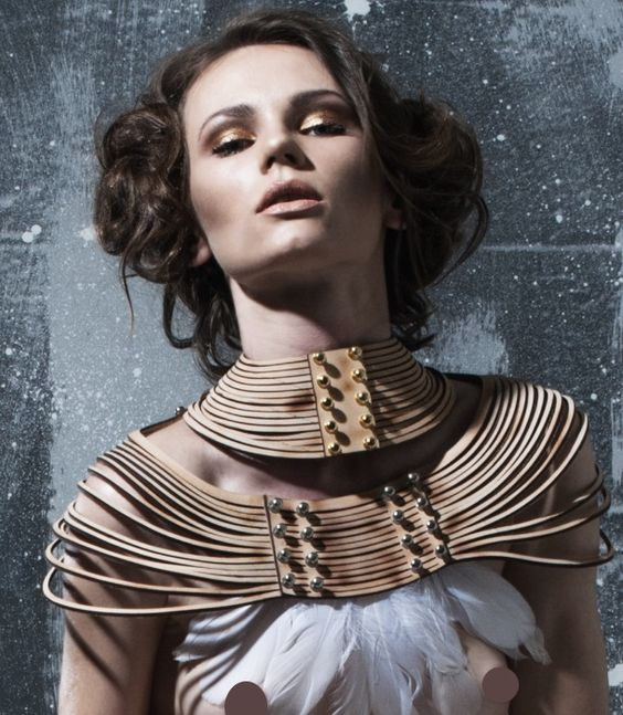 0770 Iside leather collar. Avant-garde leather in nude, Handcrafted in Italy. Shop at Xenses-shop.com