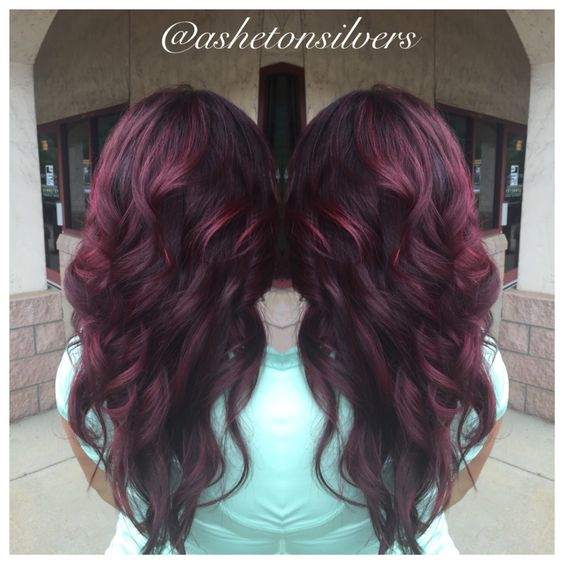 Red violet , balayage , berry hair by Asheton Silvers