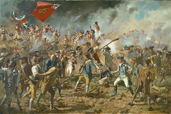 """17 June 1775 - Bunker Hill - The Americans fired until they were out of ammunition, then quickly retreated. To conserve ammunition, Prescott told his men, """"Don't fire until you see the whites of their eyes."""" Even though the battle was fought on Breed's Hill, it has been remembered as the Battle of Bunker Hill."""