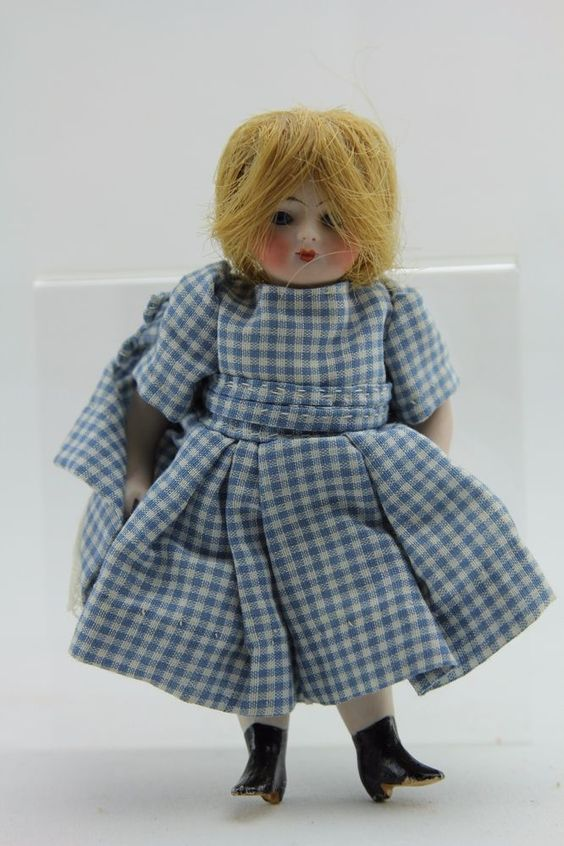 """ANTIQUE ALL BISQUE GERMAN DOLL WITH GLASS EYES 5 1/2"""""""