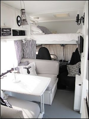 the finish on the table and cabinets is perfect! an interlay black and white theme is really nice, just cause it makes decorating life easy for a tiny home on wheels- PS ALSO check out flatscreen to the right. Home Sweet Motorhome