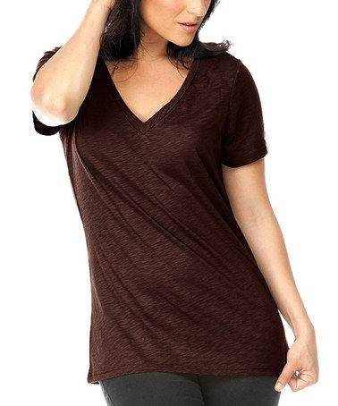 Look what I found on #zulily! Coffee Heathered V-Neck Tee - Women #zulilyfinds