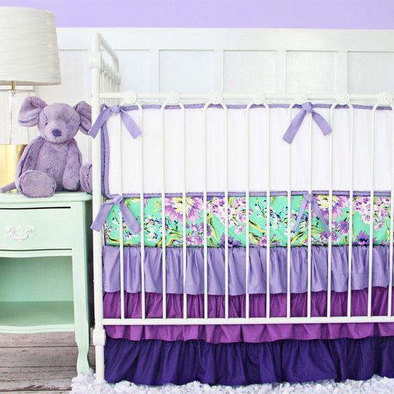 Purple Paige Ruffle | Crib Baby Bedding Set
