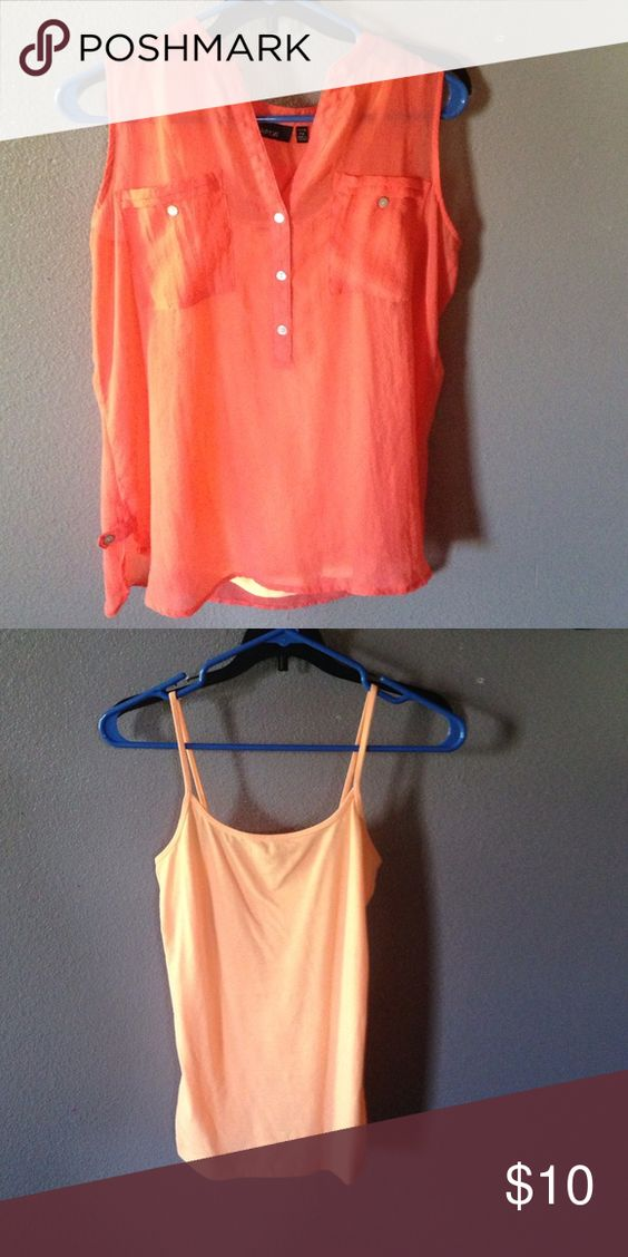 A shirt Button half way down, two pockets blouse with a cami! Apt. 9 Tops Blouses