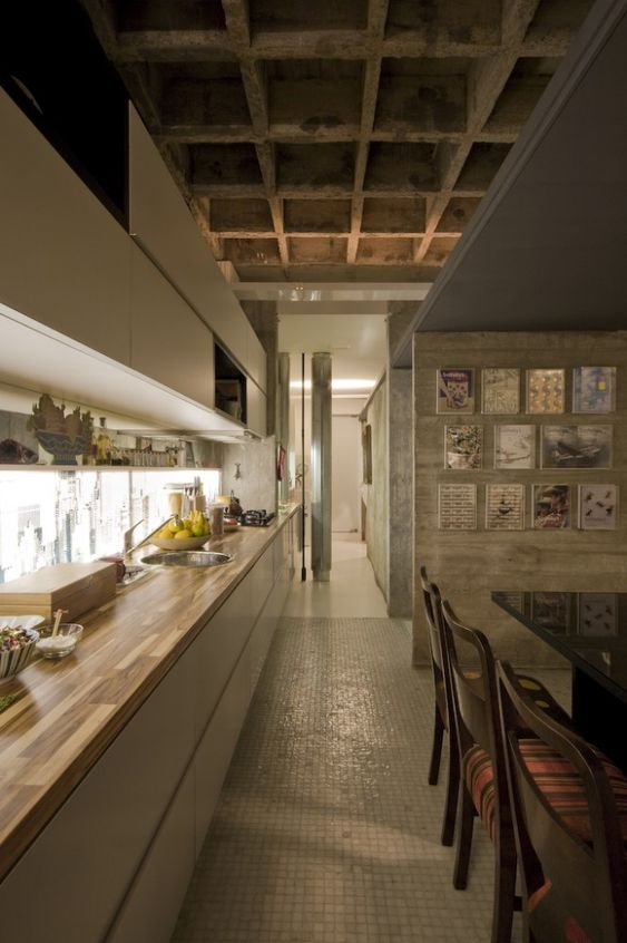 Dine-In Galley Kitchen with Atmospheric Lighting