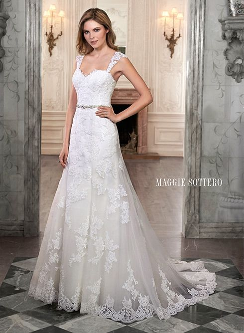 A line lace wedding gown with cap sleeves and sweetheart neckline : Marty wedding dresses dress styles maggie sottero