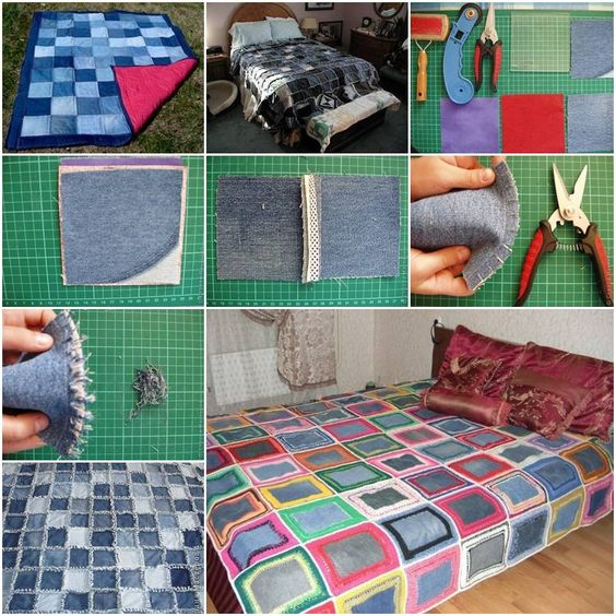 How to make Sew Denim Bedspread step by step DIY tutorial instructions, How to, how to make, step by step, picture tutorials, diy instructions, craft, do it yourself