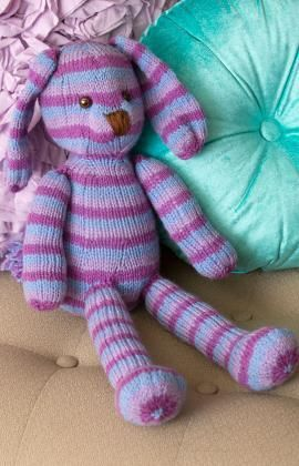 Striped Loving Bunny Free Knitting Pattern from Red Heart Yarns