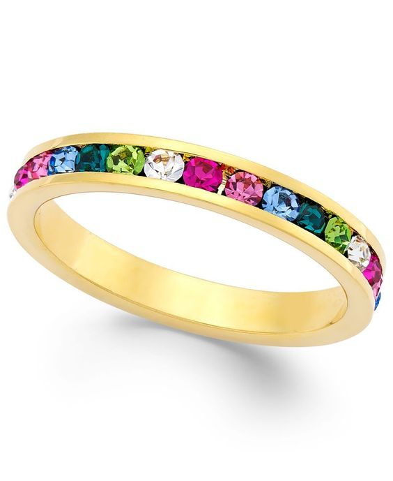 Traditions Multi-Color Swarovski Crystal Ring in 18k Gold over Sterling Silver