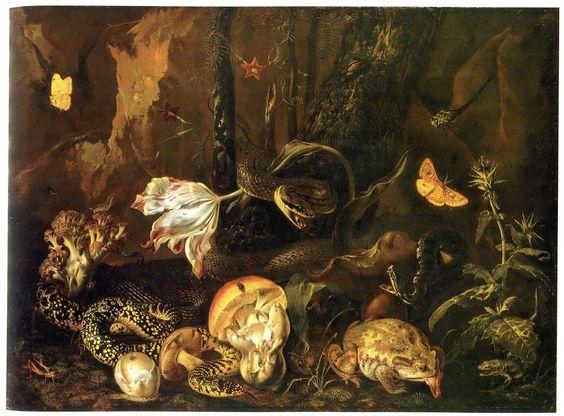 Otto Marseus van Schrieck: Stillleben mit Insekten und Amphibien~ 1662