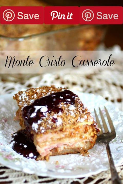 Monte Cristo Casserole 55 mins to make IngredientsMeat6 oz Deli black forest ham6 oz Deli smoked turkeyProduce1/4 tsp Chipotle powderedRefrigerated4 EggsCondiments1 cup Raspberry preservesBaking & Spices2 tsp Cinnamon1 Powdered sugar1/2 tsp Salt1 tbsp SugarNuts & Seeds1/2 cup Pecans toastedBread & Baked Goods1 cup Panko bread crumbs12 slices White sandwich breadDairy1/2 cup Half and half1 cup Milk1/2 cup Peach butter4 oz Swiss cheese