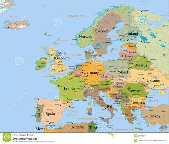 Mapa Europa - Detalhada Fotografia de Stock Royalty Free - Imagem: 21112667