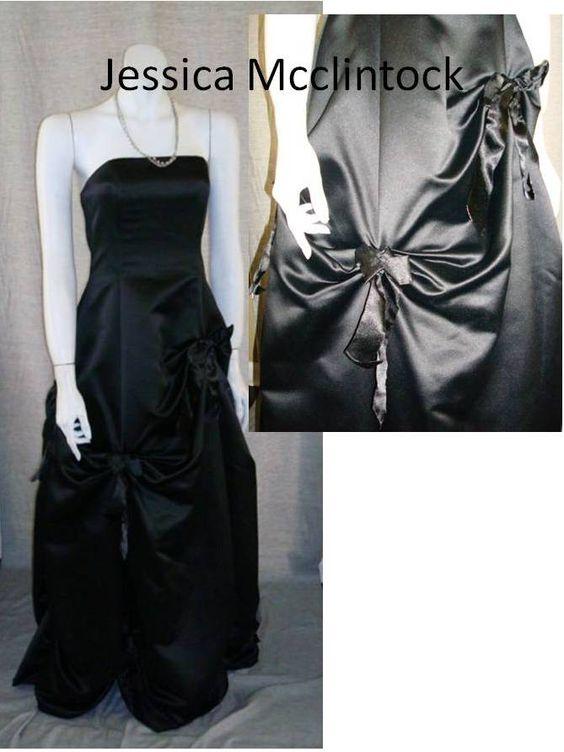 An elegant black, satin gown by Jessica McClintock