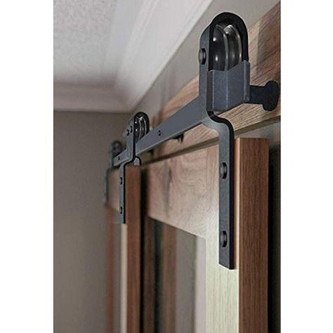 6 6 Ft Bypass Barn Door Hardware Black One Piece Rail Bypass Barn Door Hardware Bypass Barn Door Barn Door Handles