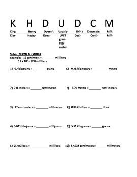 Printables Metric System Conversion Practice Worksheet student king henry and milk on pinterest students are asked to convert metric units using doesnt usually drink chocolate by exponents in their work 2 works